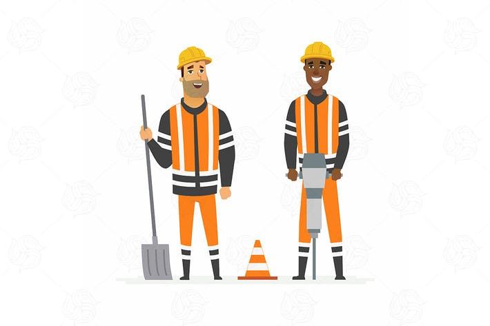 Thumbnail for Road construction workers - vector illustration