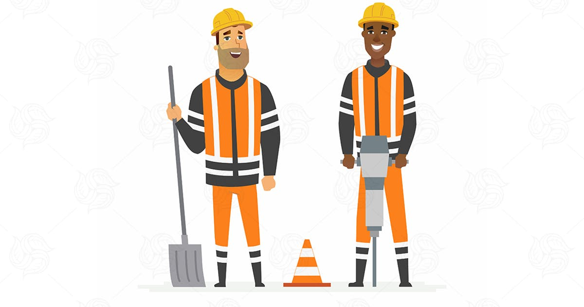 Download Road construction workers - vector illustration by BoykoPictures