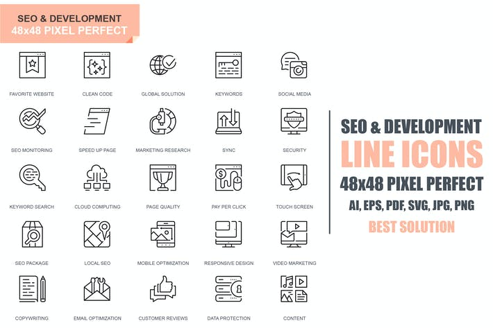Thumbnail for Simple Set Seo and Development Line Icons