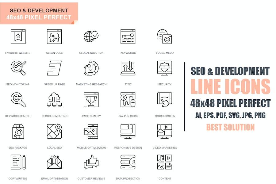Simple Set Seo and Development Line Icons