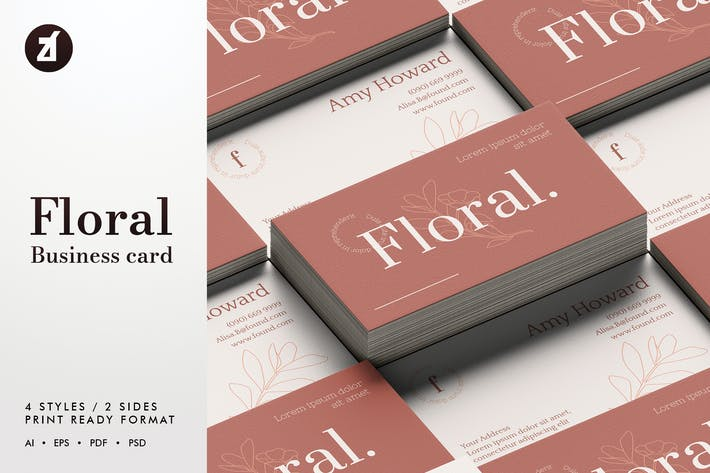 Thumbnail for Floral - Business card template