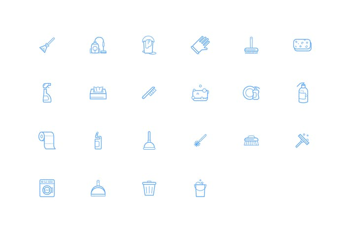 set of vector cleaning icons