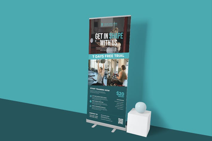 Best Gym And Aerobic Roll Up Banner Template