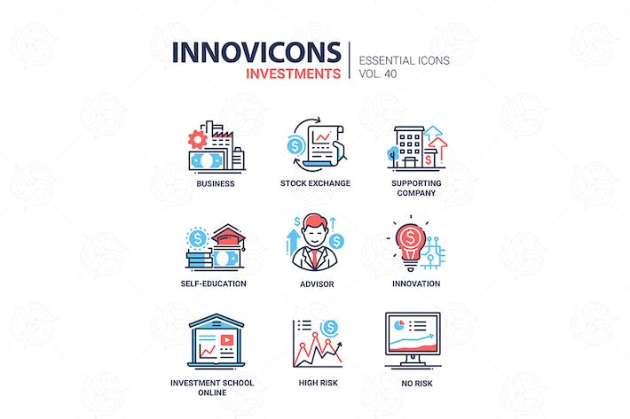 Investments - modern vector line design icons set