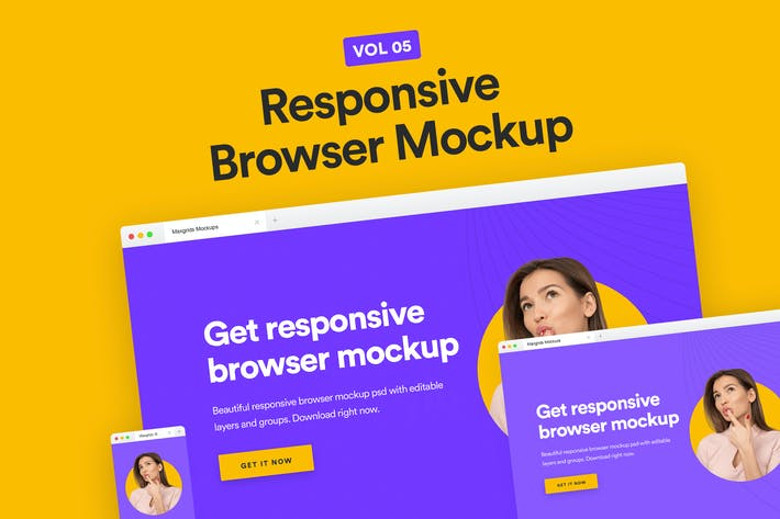 Thumbnail for Responsive Website Browser Mockup Vol 05