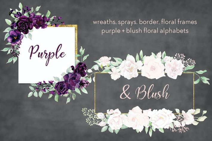 Thumbnail for Purple and Blush Watercolor Design Set