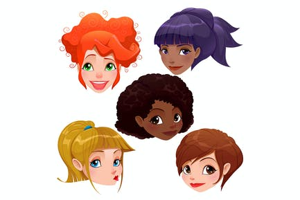 Caras femeninas.