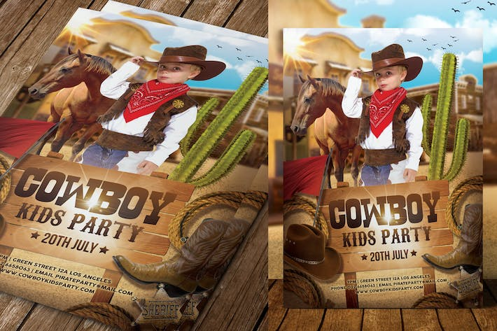Cover Image For Cowboy Kids Party Flyer