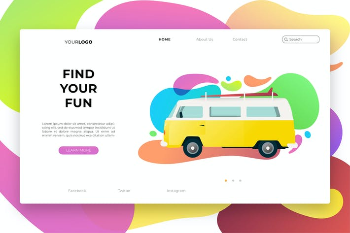 Thumbnail for Colorful Travel  Web Header Vector Template