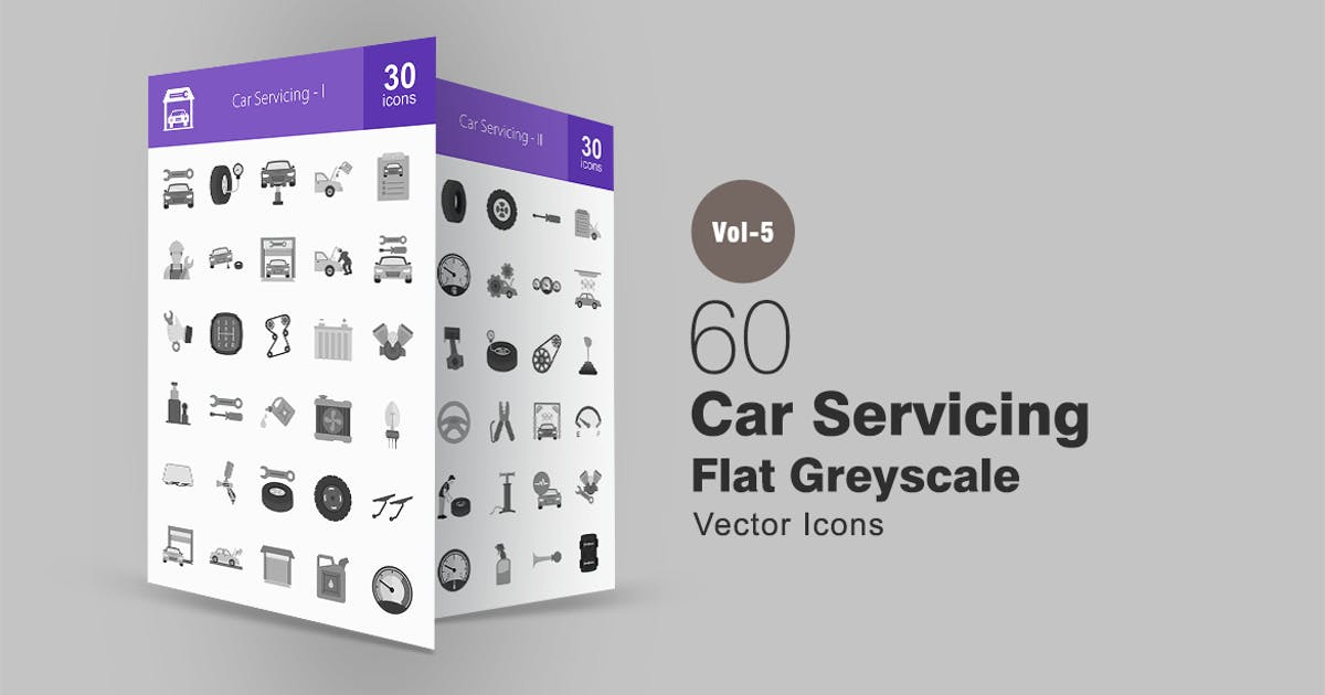 Download 60 Car Servicing Greyscale Icons by Unknow