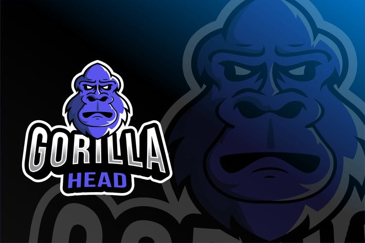 Thumbnail for Gorilla Head Esport Logo Template