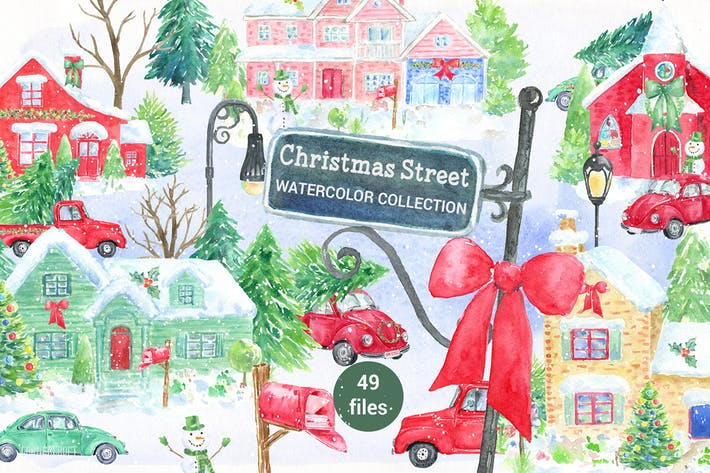 Thumbnail for Watercolor Christmas Street