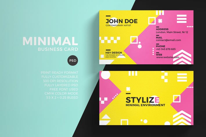 Thumbnail for Colorful Minimal Business Card Template