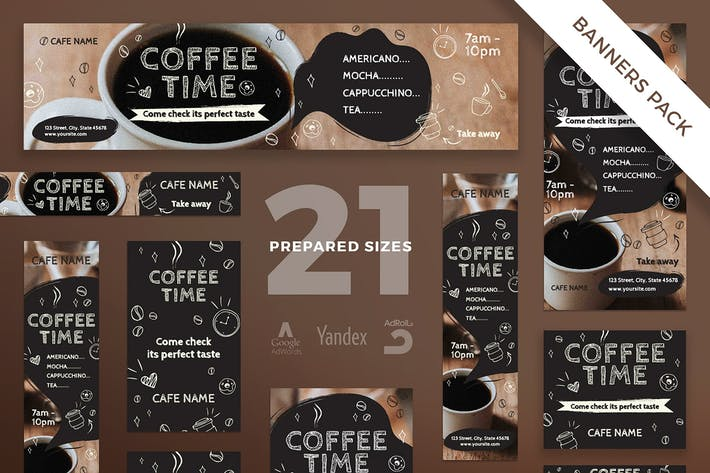 Thumbnail for Coffee Cafe Banner Pack Template