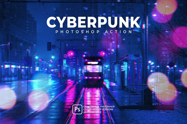 Cyberpunk Photoshop Action - product preview 0
