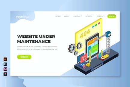 Website Under Maintenance - Isometric Landing Page