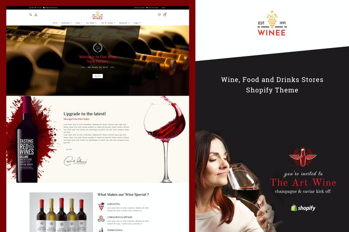 Thumbnail for Winee - Wine, Winery Shopify Theme