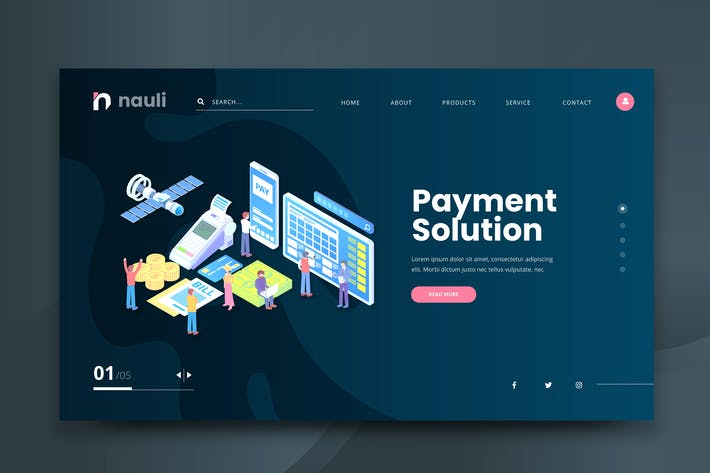 Thumbnail for Isometric Payment Solution Web PSD and AI Vector