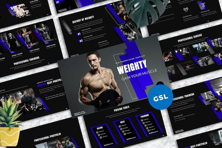 Thumbnail for Weighty - Gym Googleslide Templates