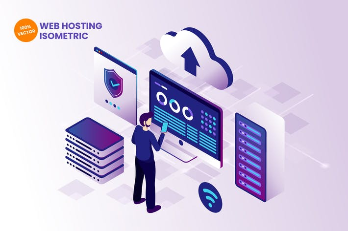 Thumbnail for Isometric Web Hosting Vector Illustration