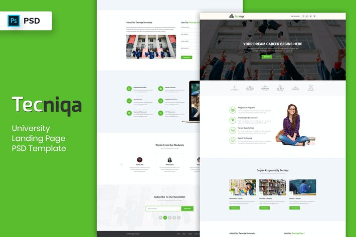 Thumbnail for University - Landing Page PSD Template