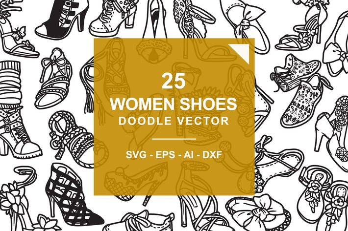 Thumbnail for Fashion Shoes / Hi Hill Doodle Vector