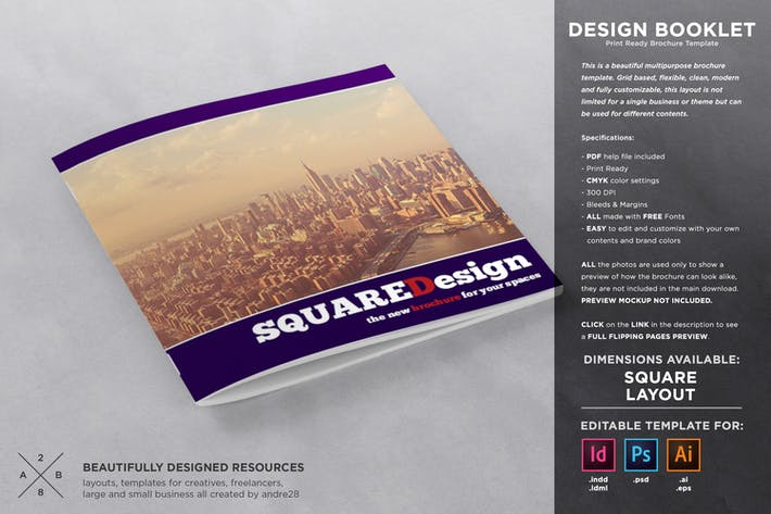 Thumbnail for Square Design Booklet Template