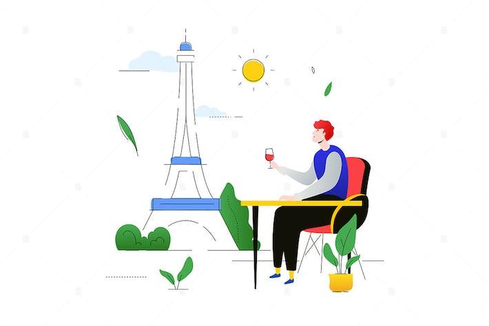 Visit France - illustration in flat design style