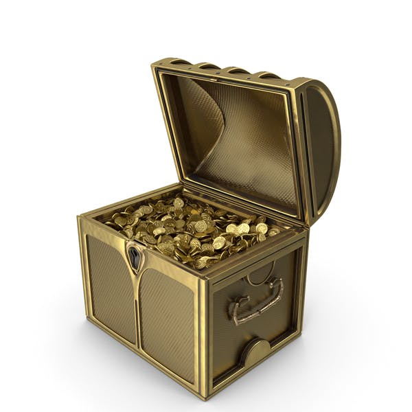 Small Golden Chest With Gold Coins