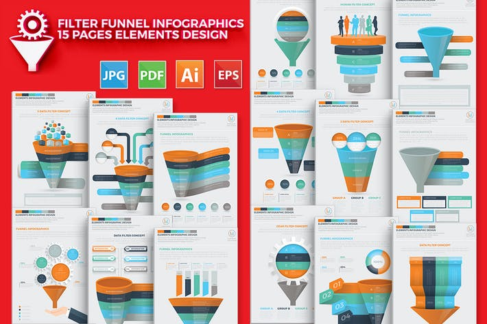 Thumbnail for Filter Funnel 15 Infographics Design