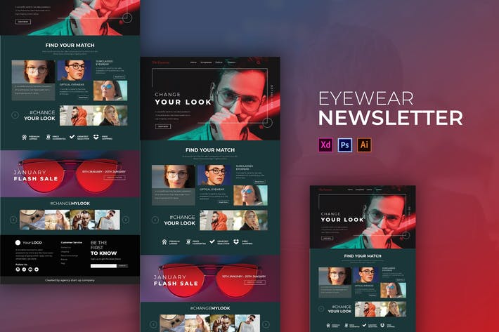 Thumbnail for Eyewear | Newsletter Template
