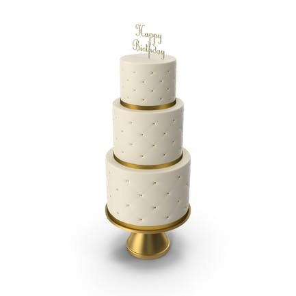 Cascade Kuchen mit Dekor aus Goldband und Topper Happy Birthday