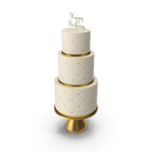 Thumbnail for Cascade Cake with Decor of Gold Ribbon and Topper Happy Birthday