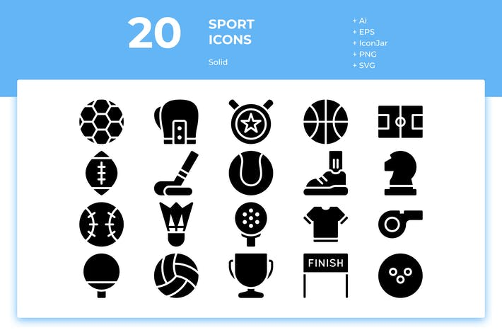 Cover Image For 20 Sport Icons (Solid)