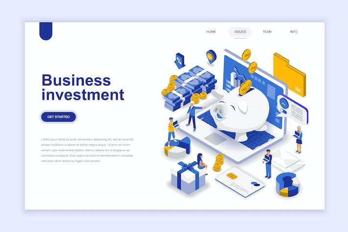 Thumbnail for Business Investment Isometric Landing Page