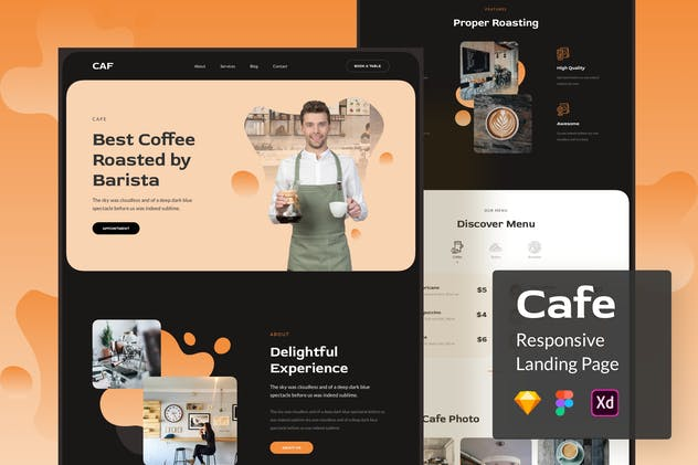 Cafe Responsive Landing Page
