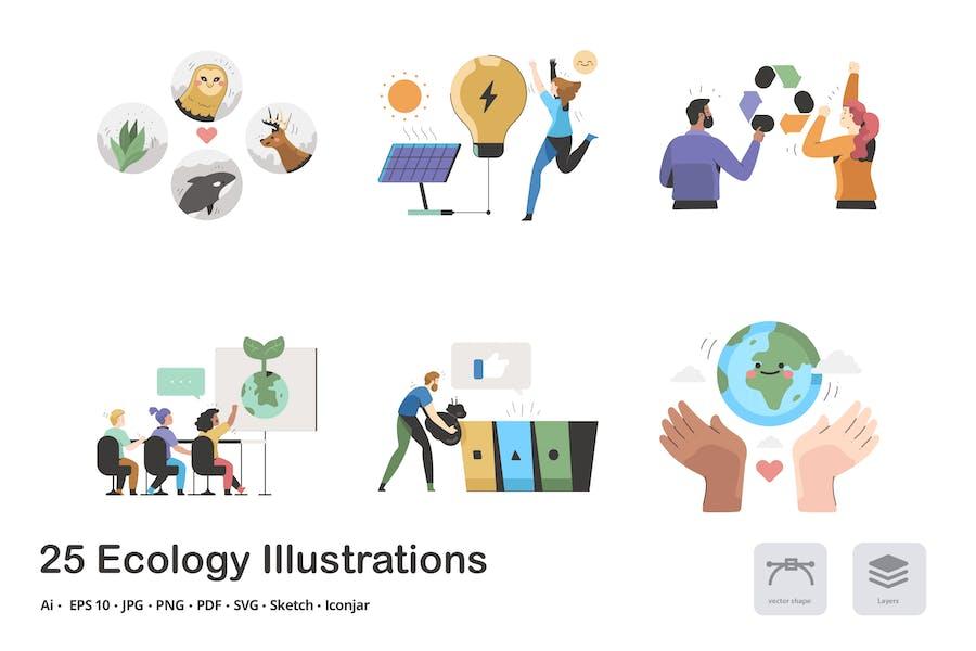 Ökologie Calma Illustrationen-Paket