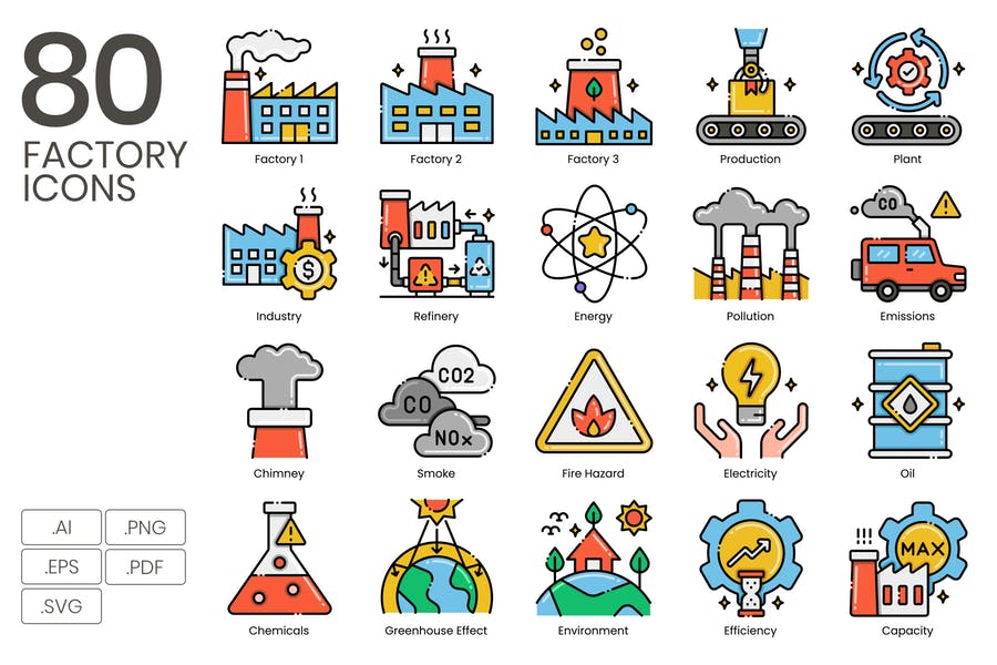80 Factory Icons - Aesthetics Series
