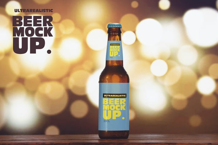 Thumbnail for Blurred Lights Beer Mockup