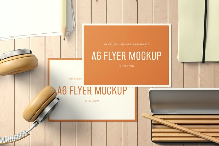 Thumbnail for A6 Landscape Flyer Mockup Set 2