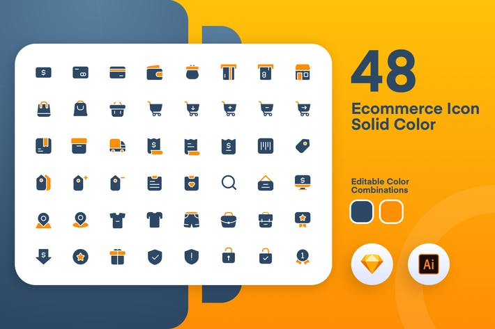 Thumbnail for Ecommerce Solid Color Icon Set