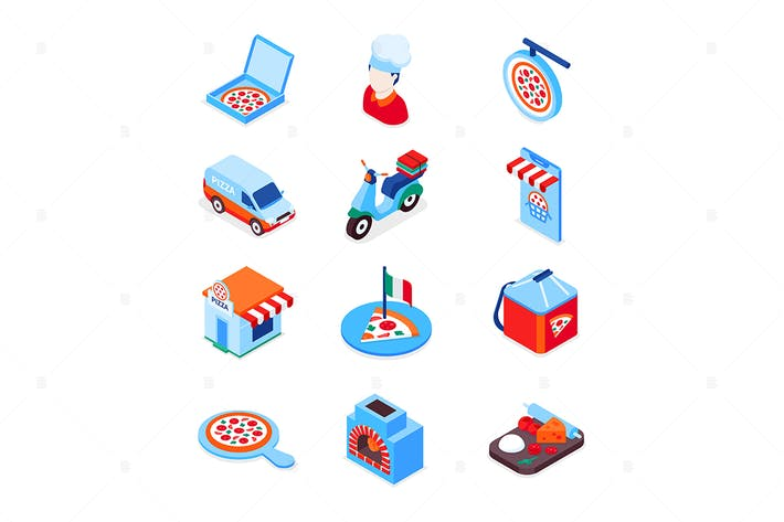 Pizza delivery - modern colorful isometric icons