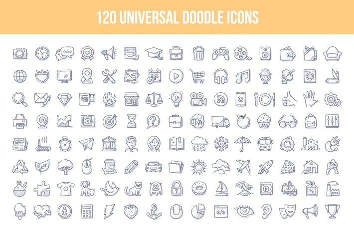 Thumbnail for 120 Universal Doodle Icons