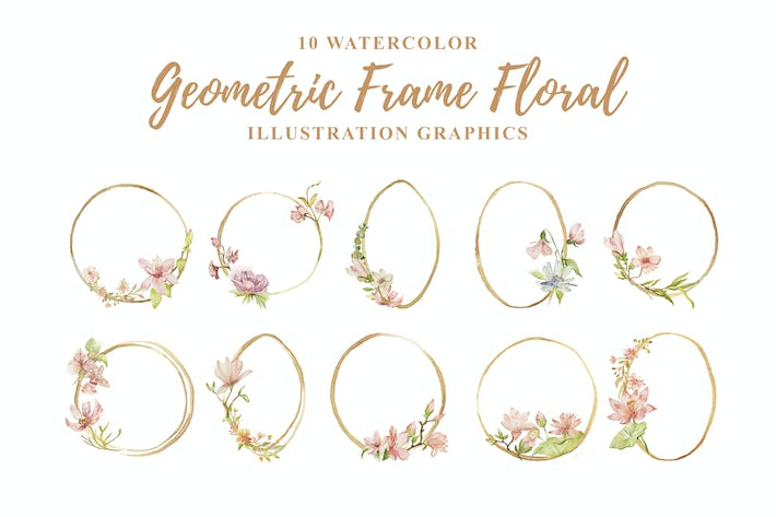Thumbnail for 10 Watercolor Geometric Frame Floral Illustration