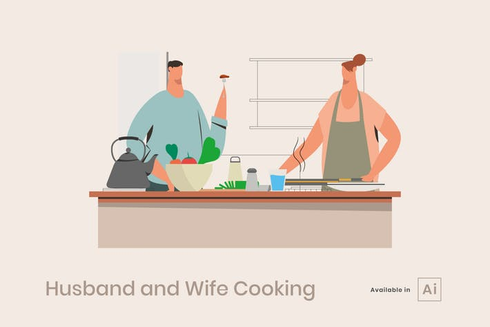 Thumbnail for Husband and Wife Cooking Illustration