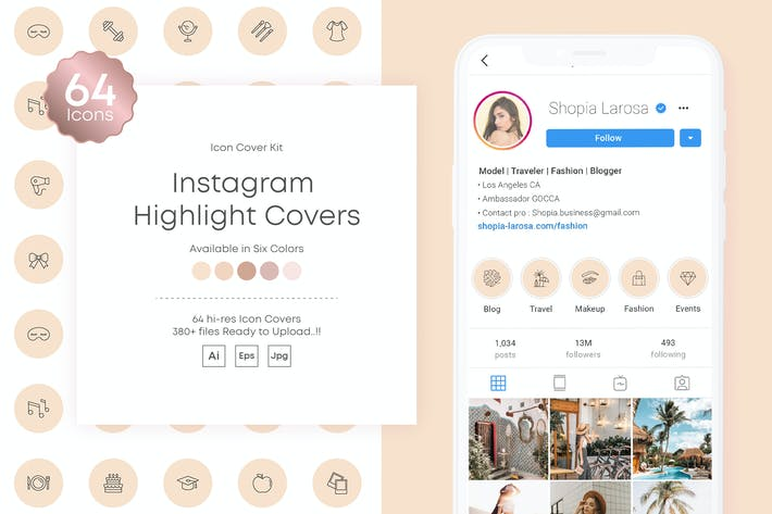 Thumbnail for Instagram stories Highlights Covers Icon Kit