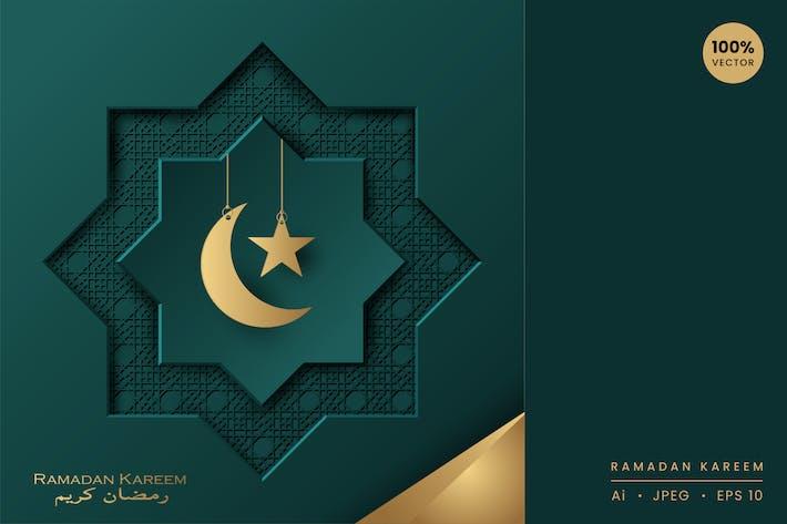 Thumbnail for Ramadan Kareem Papierkunst-Vektor Karte Vol.6
