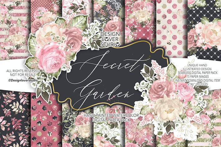 Thumbnail for Secret Garden digital paper pack
