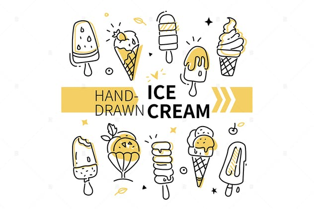 Hand-drawn ice cream collection - set of elements - product preview 1