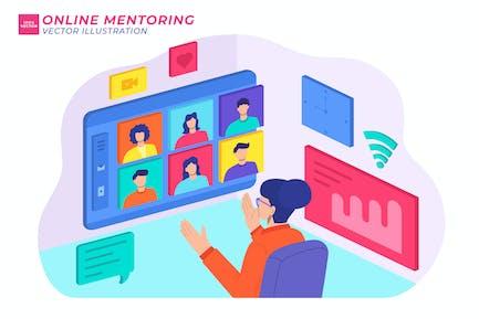 Ilustración plana de mentoría en línea